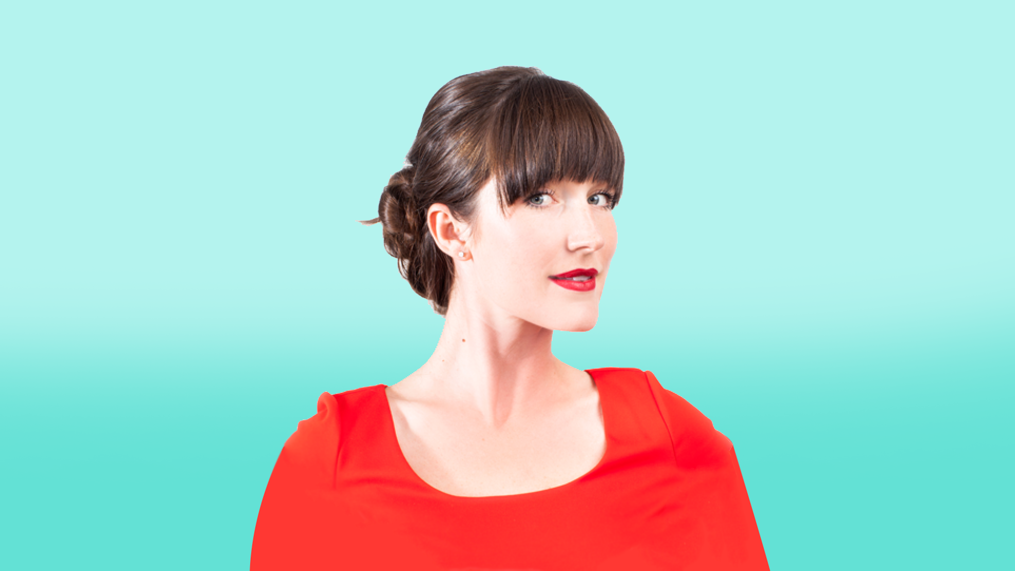 Regan McGarth CPA CA. Professional woman, red blouse, blue background