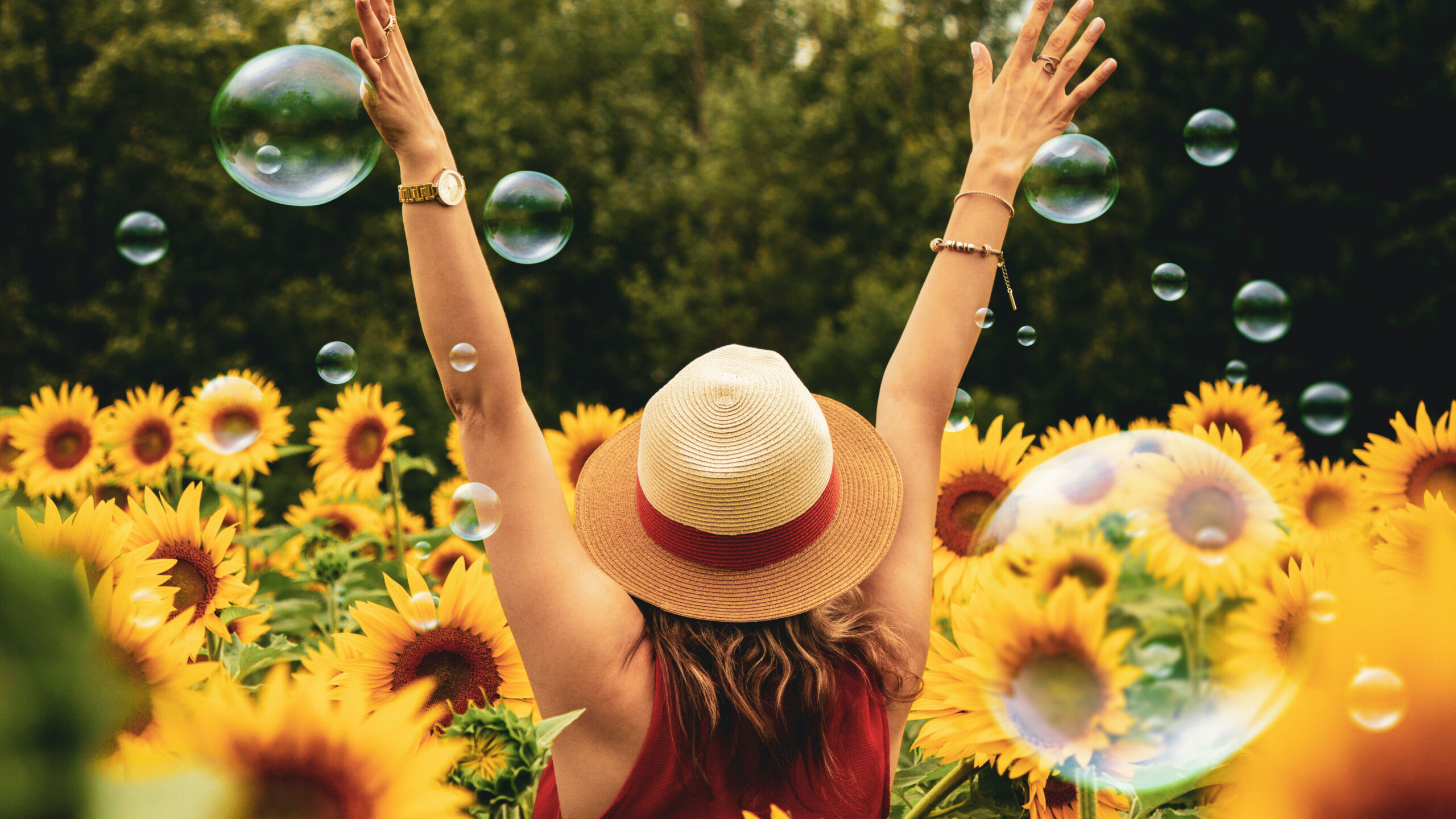 Woman faces away from camera. She walks into field of sunflowers with arms raised and bubbles are in the air around her. She wears a straw hat with red ribbon and a matching red shirt.