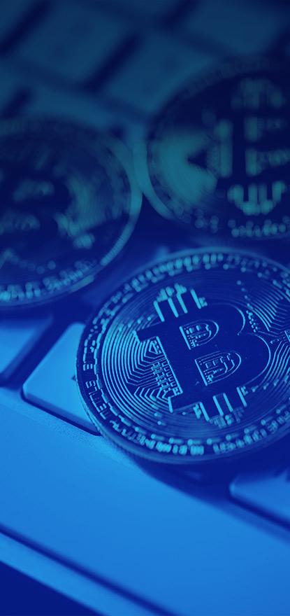 Bitcoins on keyboard