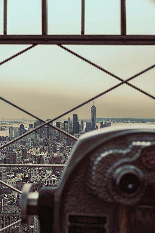 Vintage Binoculars overlooking city